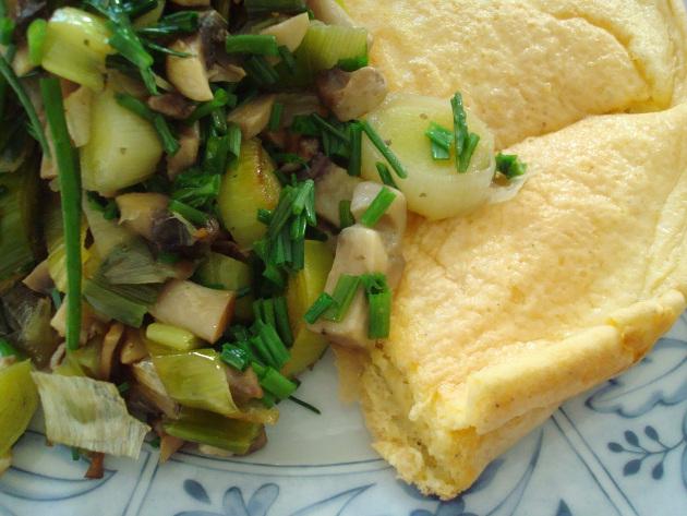Omelett mit Lauch-Champignons